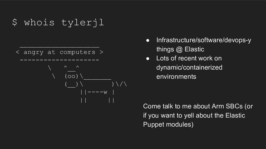 $ whois tylerjl ● Infrastructure/software/devop...