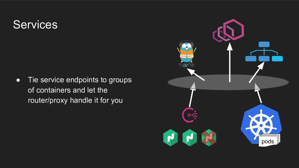 ● Tie service endpoints to groups of containers...