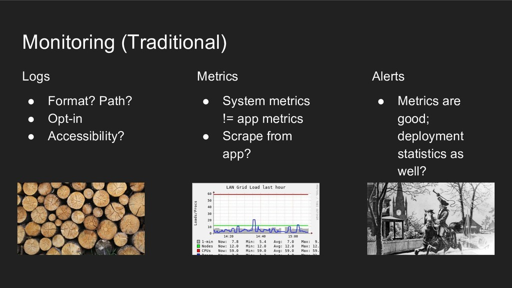 Monitoring (Traditional) Logs ● Format? Path? ●...