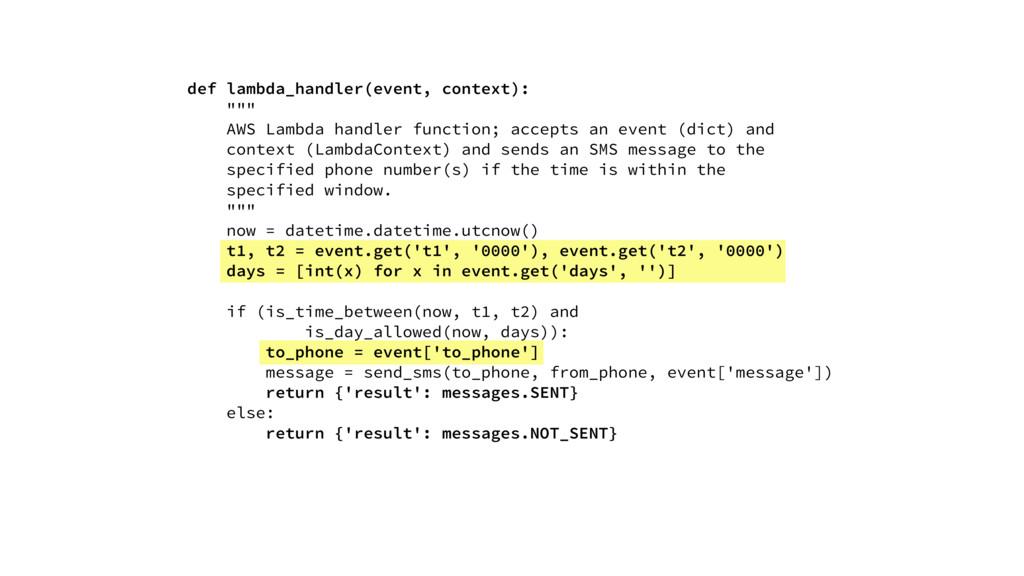"def lambda_handler(event, context): """""" AWS Lam..."