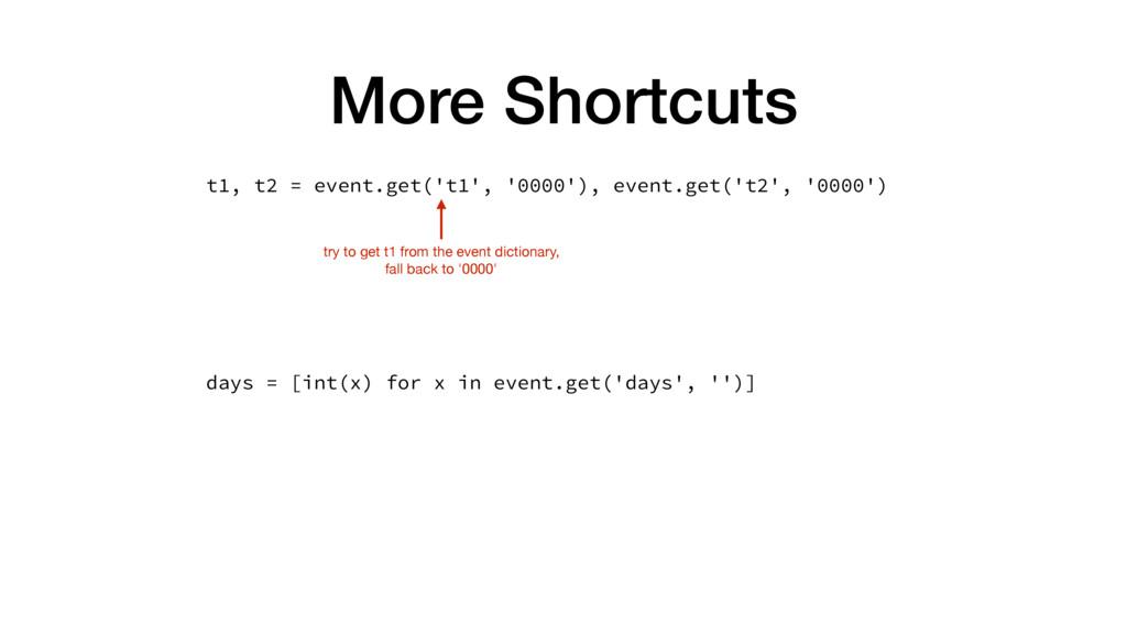 More Shortcuts t1, t2 = event.get('t1', '0000')...