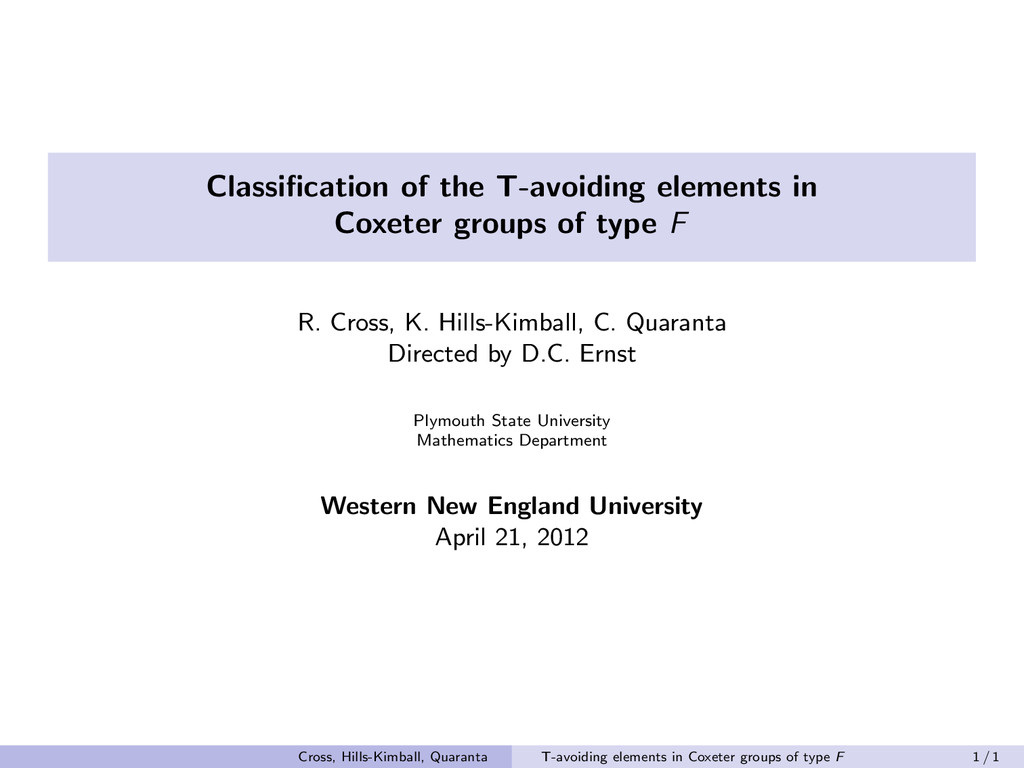 Classification of the T-avoiding elements in Cox...