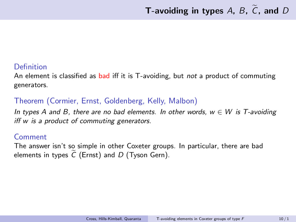 T-avoiding in types A, B, C, and D Definition An...
