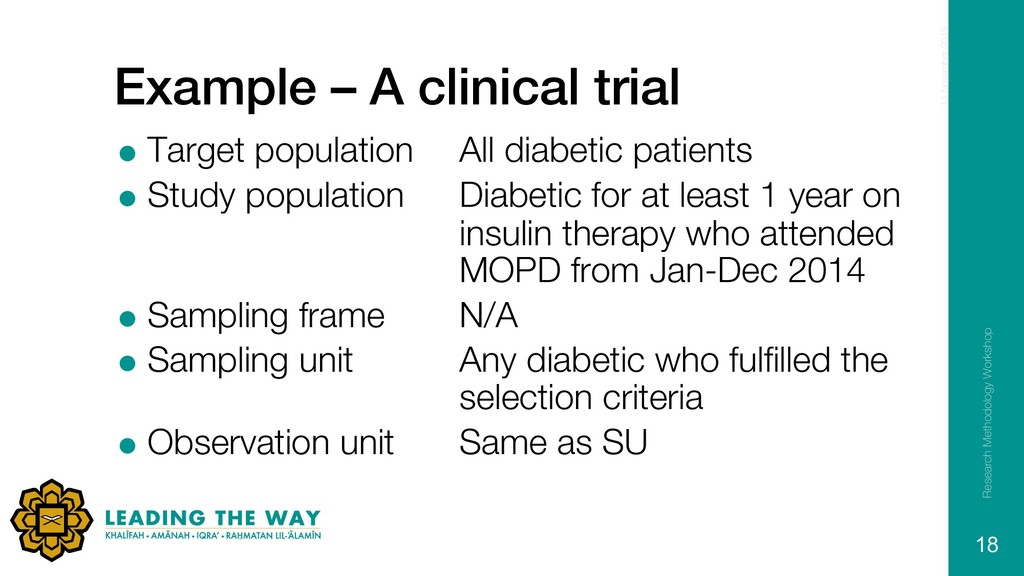 Example – A clinical trial = Target population ...