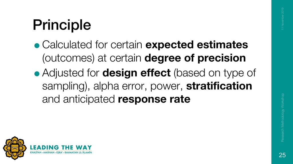 Principle =Calculated for certain expected esti...