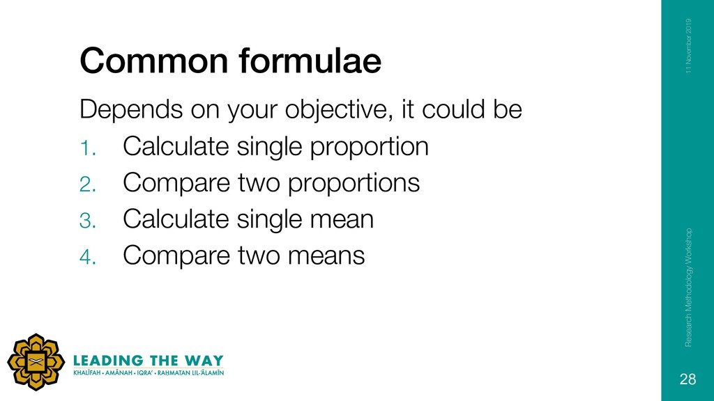 Common formulae Depends on your objective, it c...
