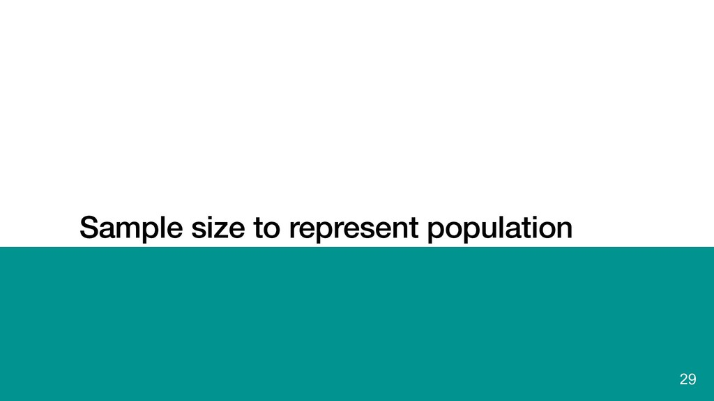 Sample size to represent population 29