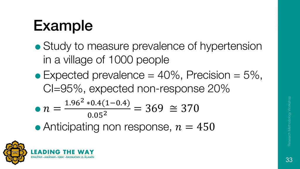 Example =Study to measure prevalence of hyperte...