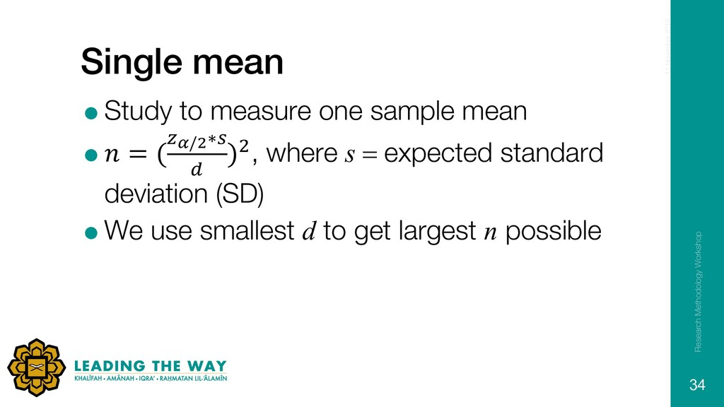 Single mean =Study to measure one sample mean =...