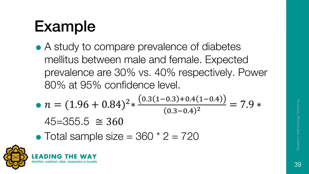 Example = A study to compare prevalence of diab...
