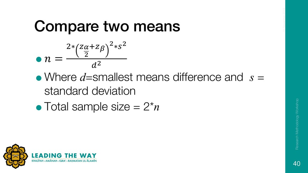 Compare two means = = /∗ #$ & 3#F &∗D& ,& =Wher...