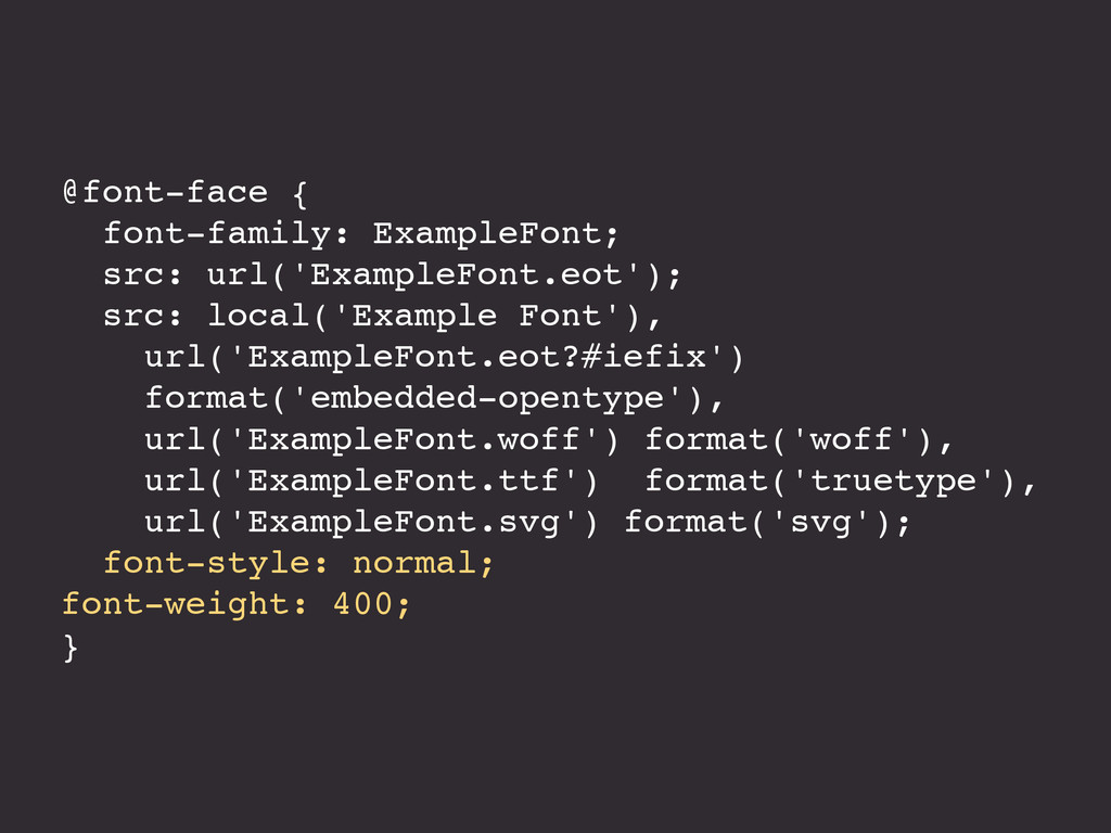 @font-face { font-family: ExampleFont; src: url...