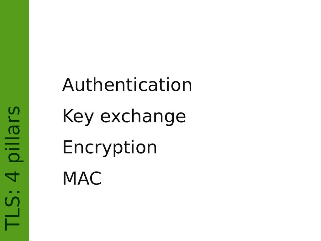 TLS: 4 pillars Authentication Key exchange Encr...