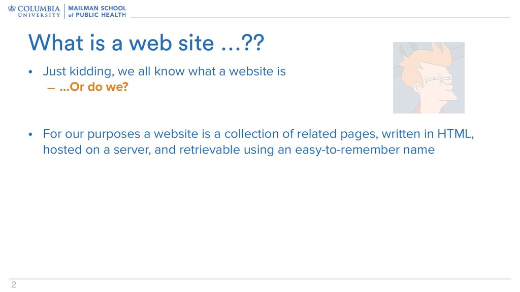 2 • Just kidding, we all know what a website is...