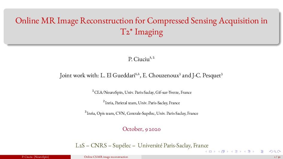Online MR Image Reconstruction for Compressed S...