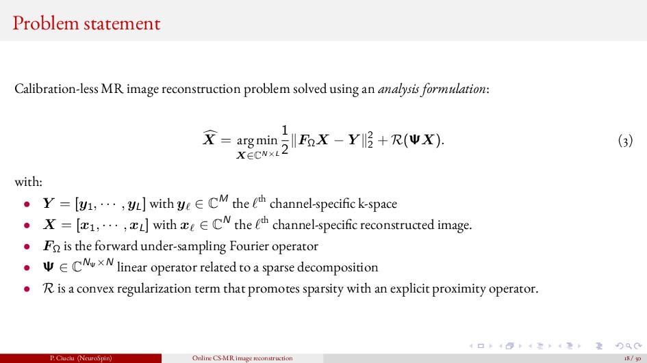 Problem statement Calibration-less MR image rec...