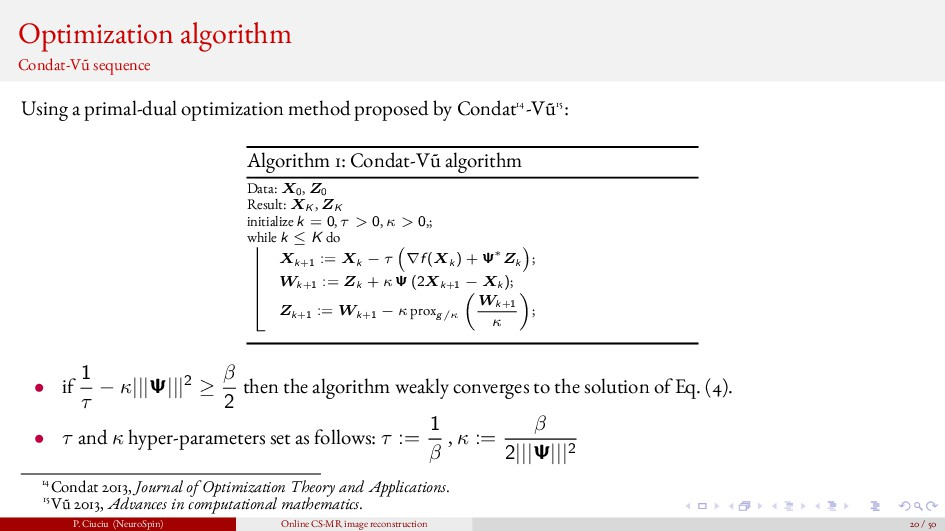 Optimization algorithm Condat-V˜ u sequence Usi...