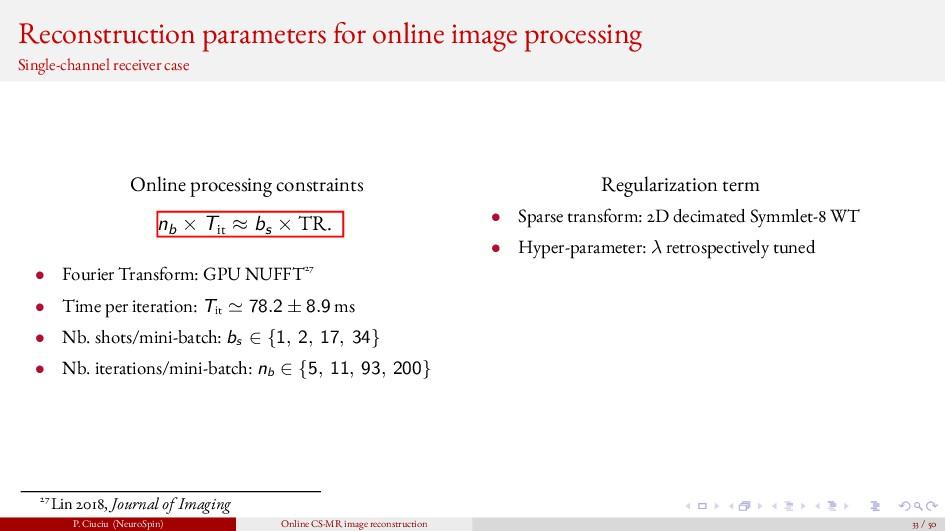 Reconstruction parameters for online image proc...