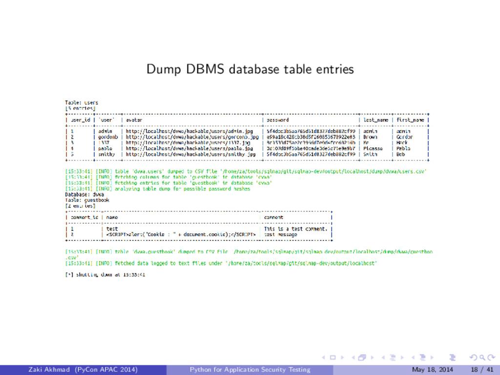 Dump DBMS database table entries Zaki Akhmad (P...