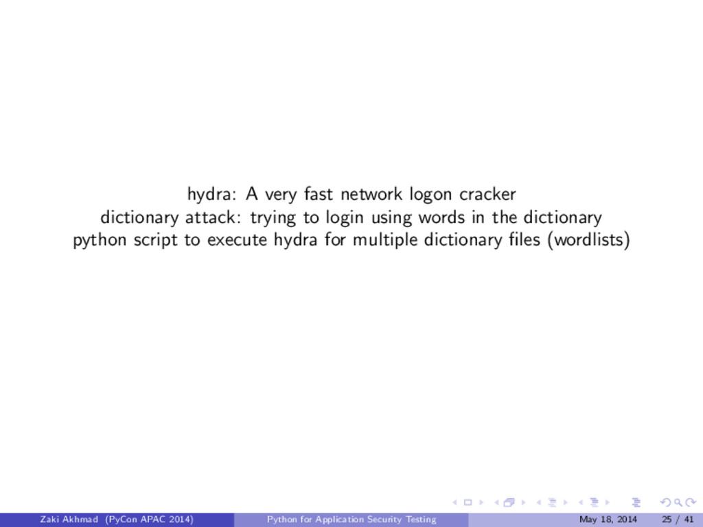 hydra: A very fast network logon cracker dictio...