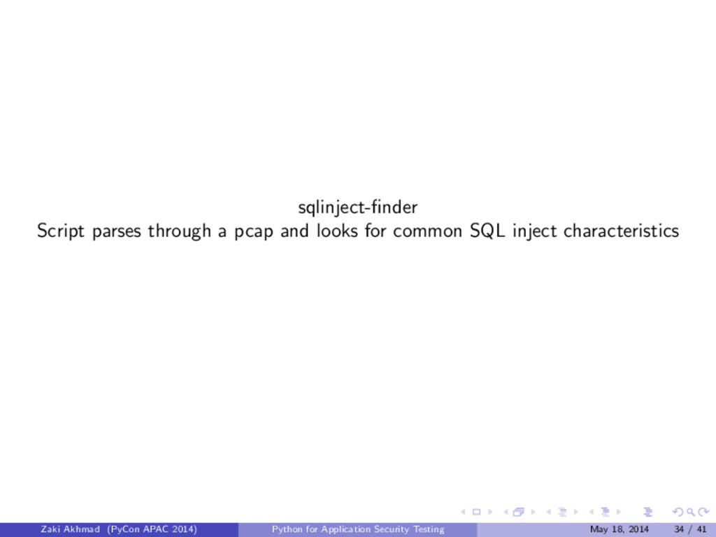 sqlinject-finder Script parses through a pcap an...