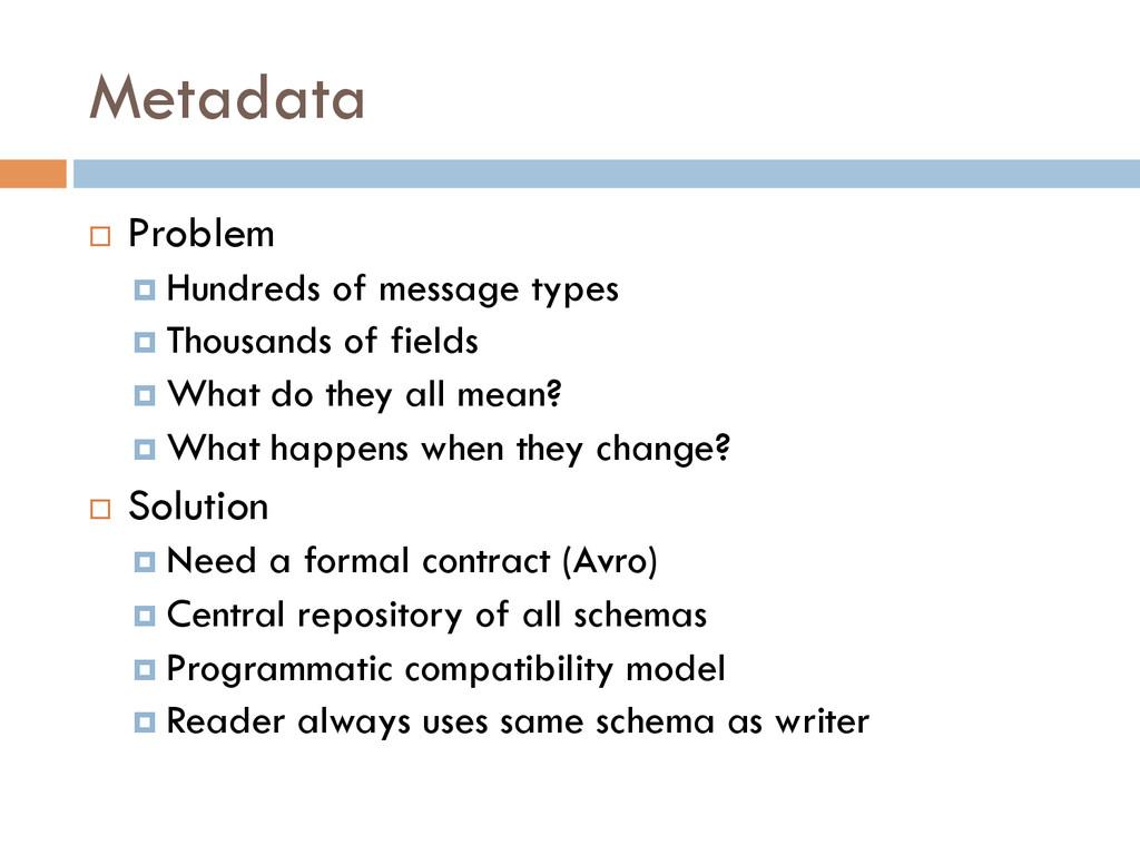Metadata ¨ Problem ¤ Hundreds of message ty...