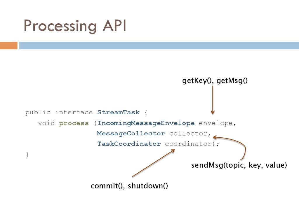 Processing API public interface StreamTask { vo...