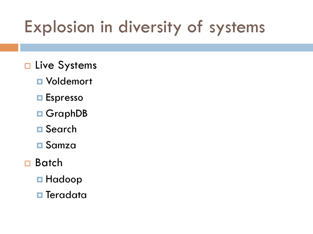 Explosion in diversity of systems ¨ Live Syst...