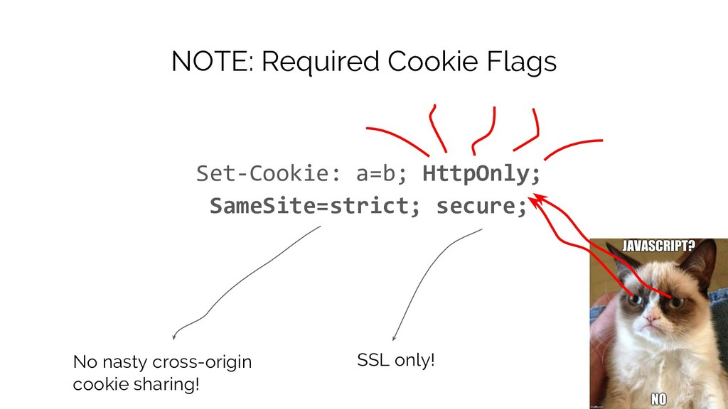 NOTE: Required Cookie Flags Set-Cookie: a=b; Ht...