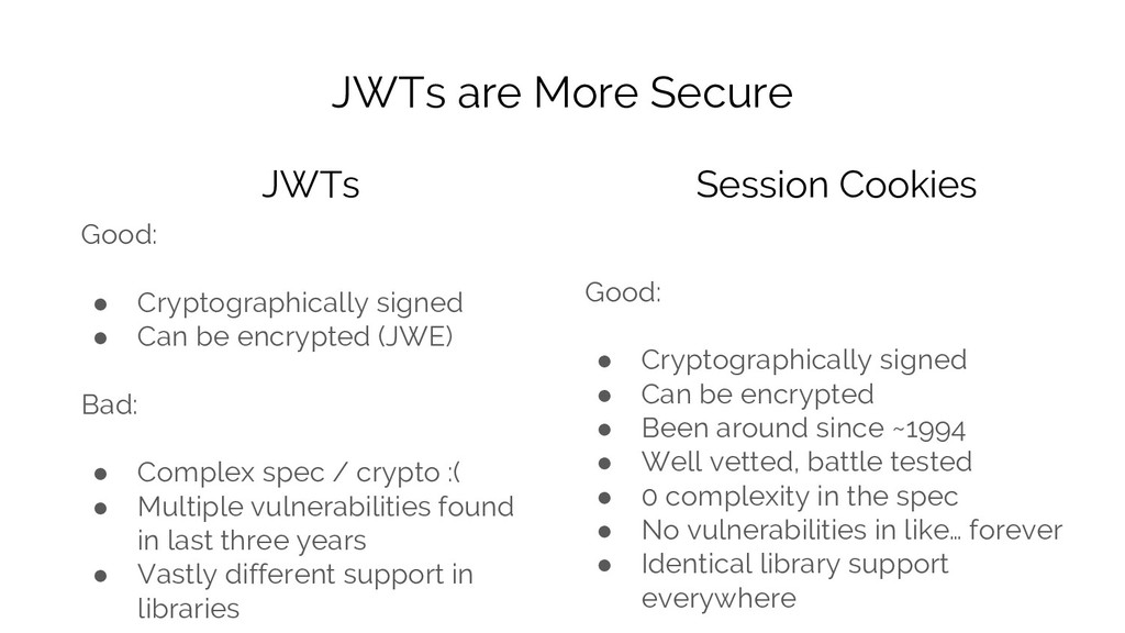 JWTs are More Secure Good: ● Cryptographically ...