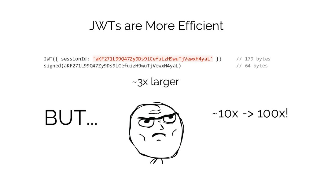 JWTs are More Efficient JWT({ sessionId: 'aKF27...