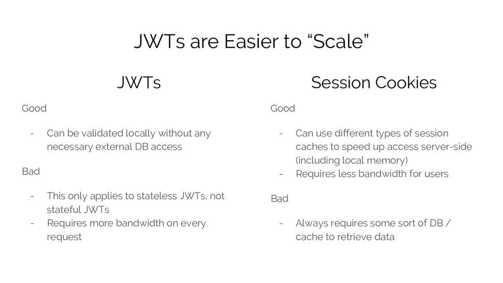 "JWTs are Easier to ""Scale"" Good - Can be valida..."