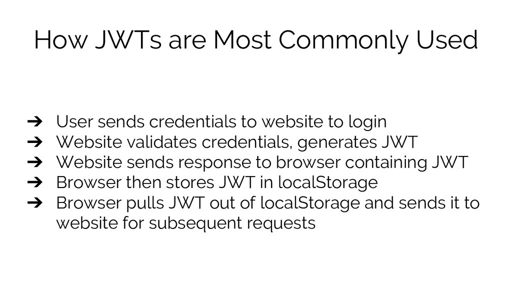 How JWTs are Most Commonly Used ➔ User sends cr...