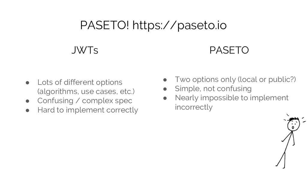 PASETO! https://paseto.io ● Lots of different o...