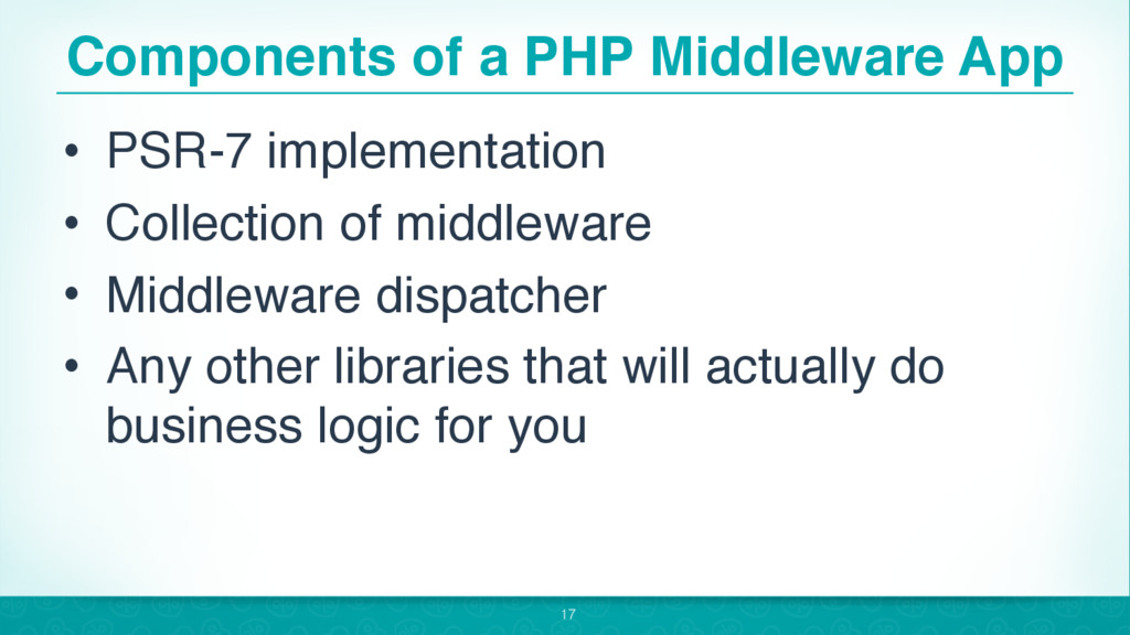 Components of a PHP Middleware App • PSR-7 impl...