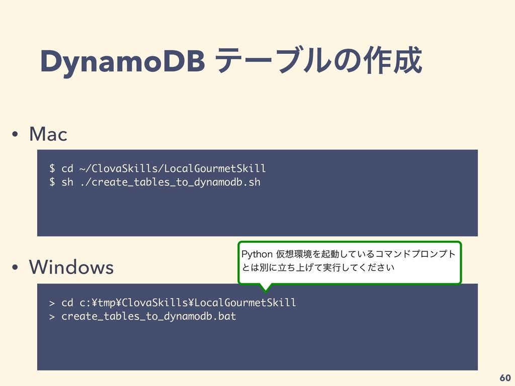 DynamoDB ςʔϒϧͷ࡞ $ cd ~/ClovaSkills/LocalGourme...