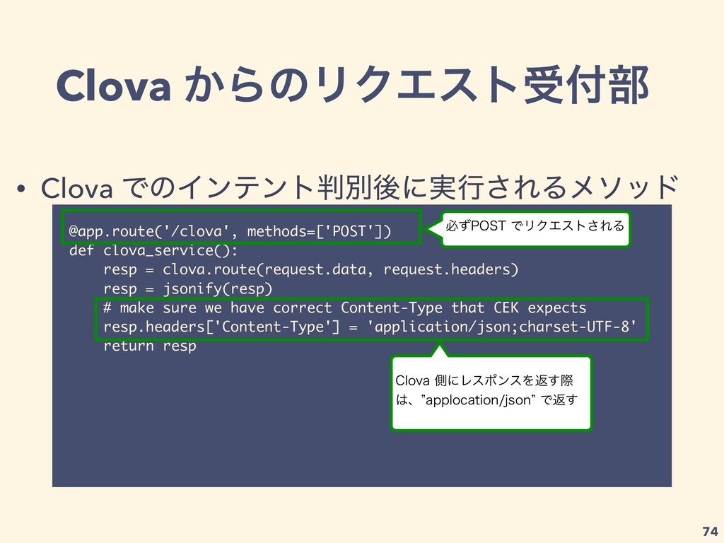 Clova ͔ΒͷϦΫΤετड෦ @app.route('/clova', methods=...