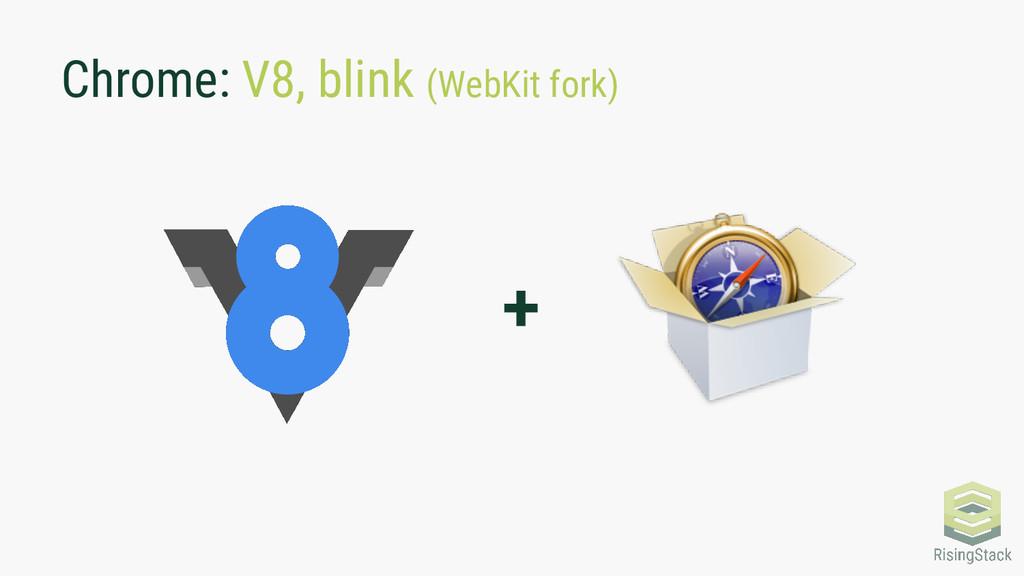 Chrome: V8, blink (WebKit fork) +