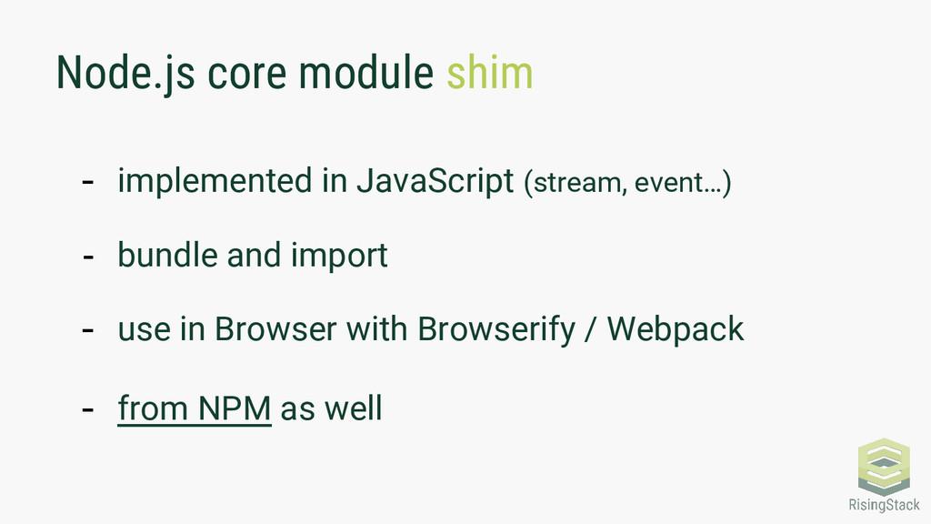 Node.js core module shim - implemented in JavaS...