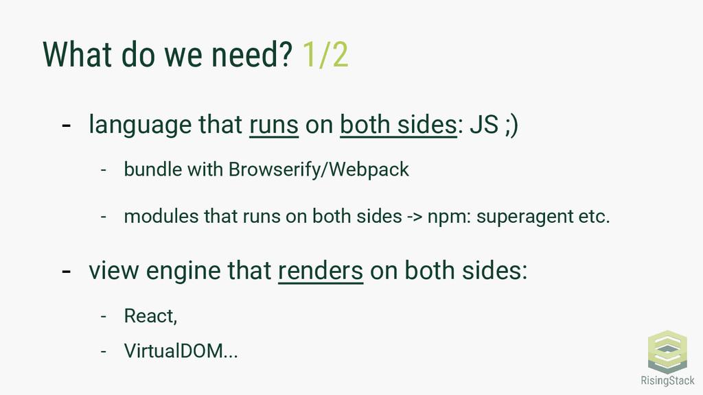 What do we need? 1/2 - language that runs on bo...