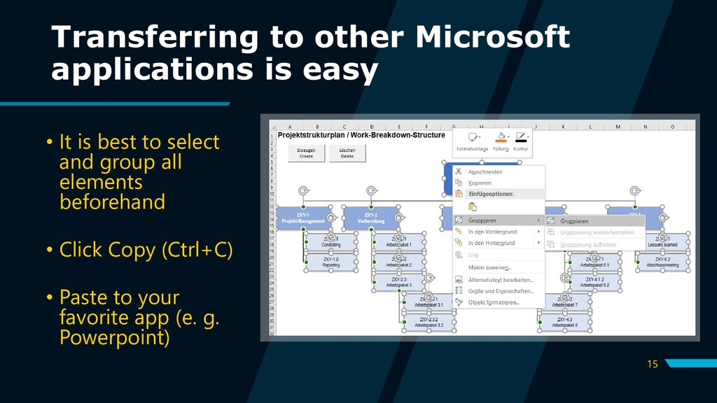15 Transferring to other Microsoft applications...
