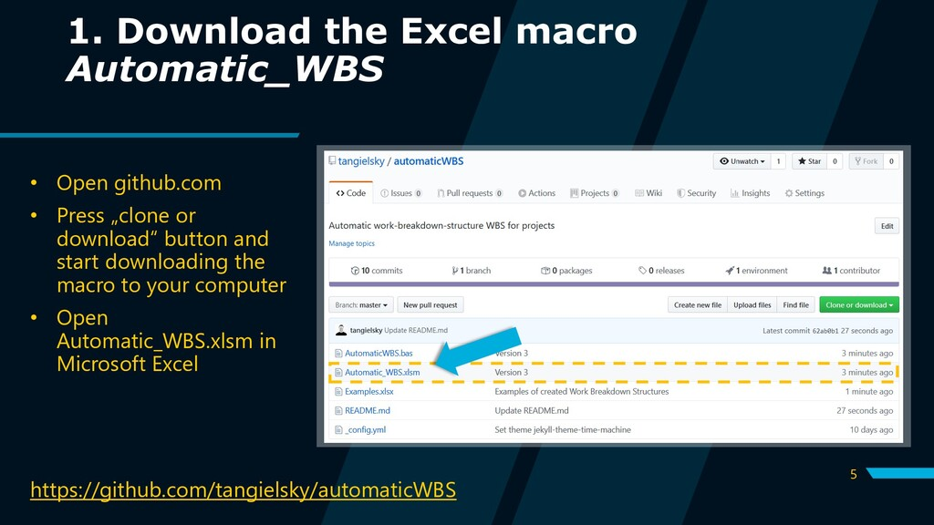 5 1. Download the Excel macro Automatic_WBS htt...