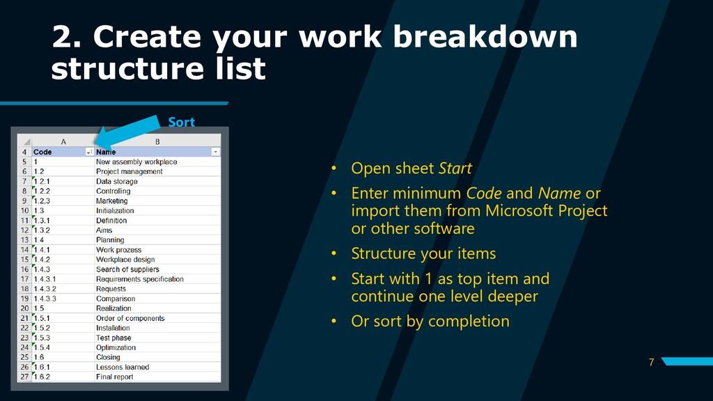 7 2. Create your work breakdown structure list ...