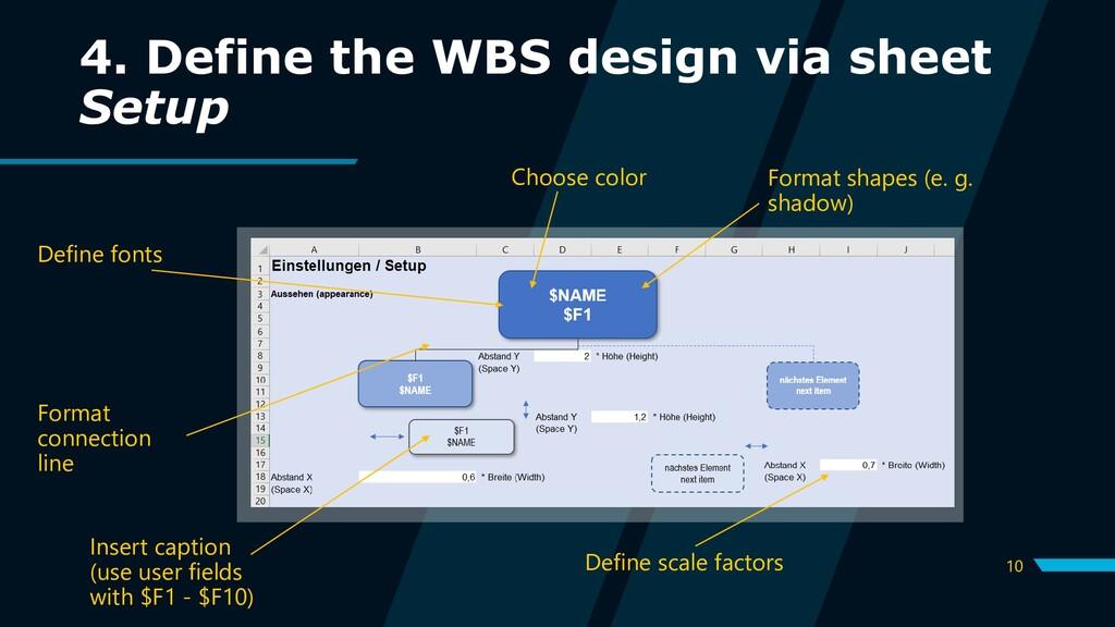 10 4. Define the WBS design via sheet Setup Def...