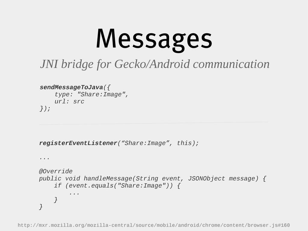 Messages JNI bridge for Gecko/Android communica...