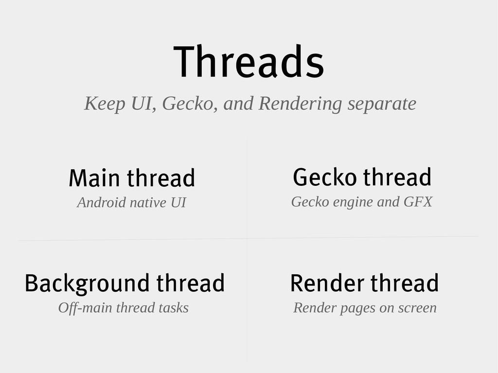 Threads Keep UI, Gecko, and Rendering separate ...