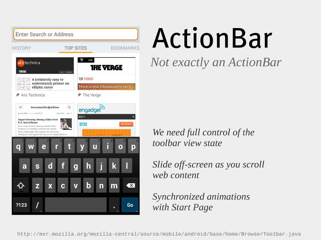 ActionBar Not exactly an ActionBar We need full...
