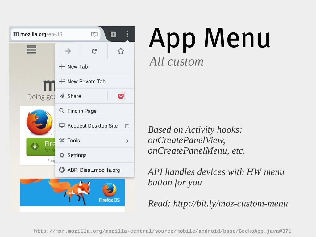 App Menu All custom Based on Activity hooks: on...
