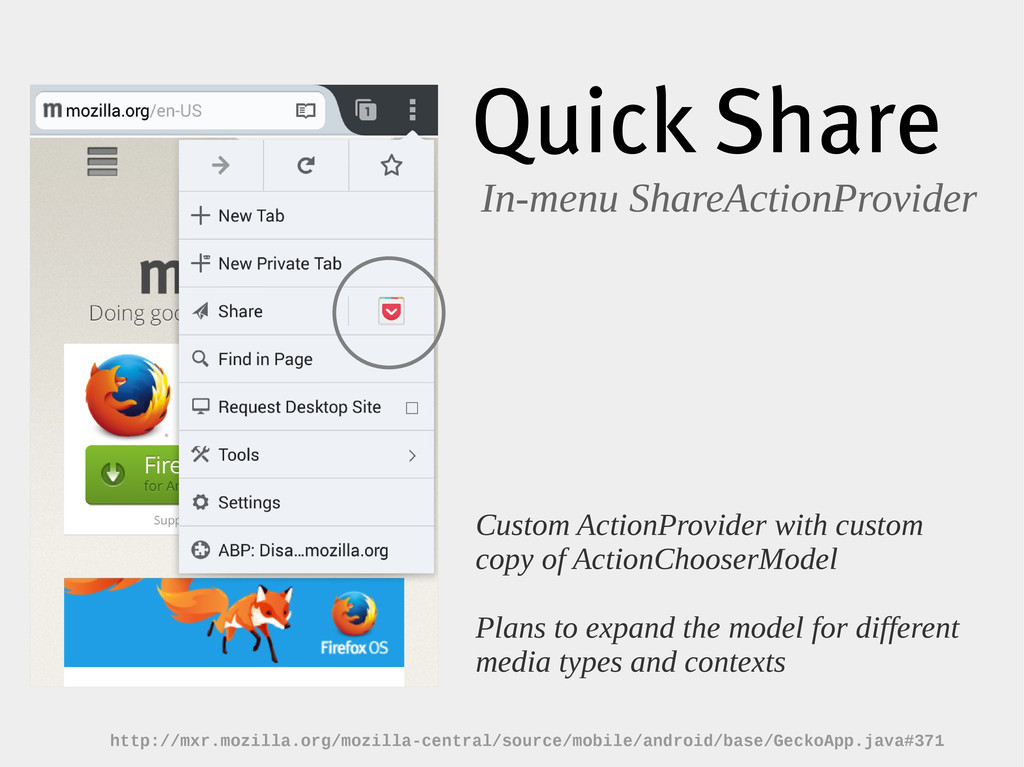 Quick Share In-menu ShareActionProvider Custom ...