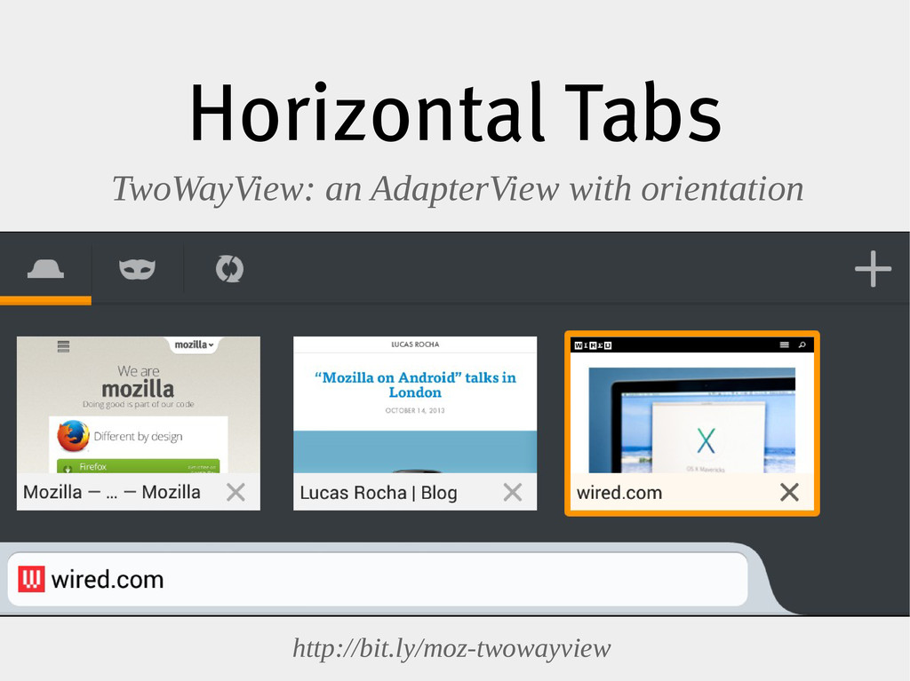Horizontal Tabs TwoWayView: an AdapterView with...